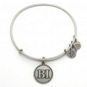 Block Island Initials Charm Bangle Silver