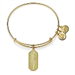 August Birth Flower Warriors Will Gladiolus Charm Bangle Shiny Gold