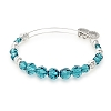 Sky Beaded Bangle with Swarovski Crystals Shiny Silver