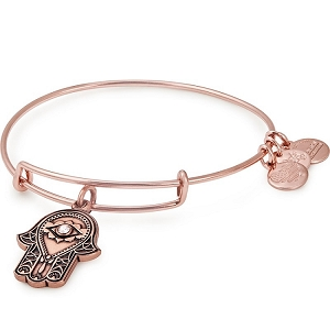 Hand of Fatima Charm Bangle Rose Gold