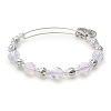 Cloud Beaded Bangle with Swarovski Crystals Shiny Silver