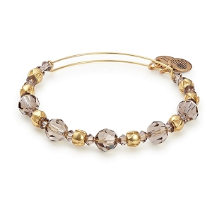 Moon Beaded Bangle with Swarovski Crystals Shiny Gold