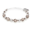 Moon Beaded Bangle with Swarovski Crystals Shiny Silver