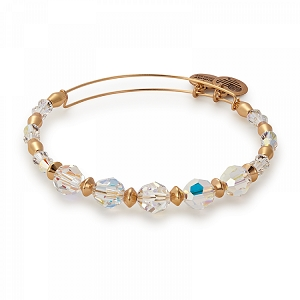 Frost Beaded Bangle with Swarovski Crystals Shiny Gold