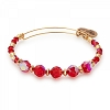 Poinsettia Beaded Bangle with Swarovski Crystals Shiny  Gold