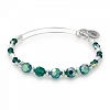 Pine Beaded Bangle with Swarovski Crystals Shiny Silver