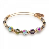 Mirror Beaded Bangle with Swarovski Crystals Shiny  Gold