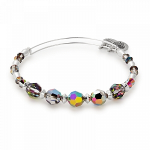 Mirror Beaded Bangle with Swarovski Crystals Shiny Silver