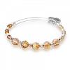 Glow Beaded Bangle with Swarovski Crystals Shiny Silver