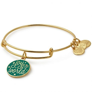 Joy to the World Charm Bangle Shiny Gold
