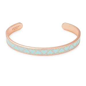 Teal Heart Color Infusion Cuff Shiny Rose Gold