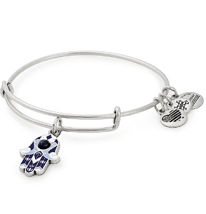 Hamsa Color Infusion Charm Bangle Silver