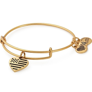 Heart Flag Charm Bangle Rafaelian Gold