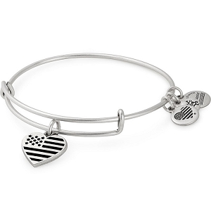Heart Flag Charm Bangle Rafaelian Silver