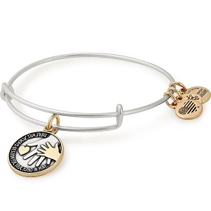 Hand in Hand Two Tone Charm Bangle Silver