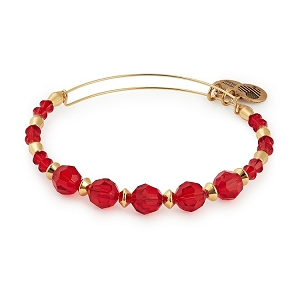 Poppy Beaded Bangle with Swarovski Crystals Shiny Gold