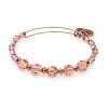 Peony Beaded Bangle with Swarovski Crystals Shiny Rose Gold