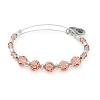 Peony Beaded Bangle with Swarovski Crystals Shiny Silver
