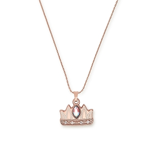 Queen Mom Expandable Necklace Shiny Rose Gold Finish
