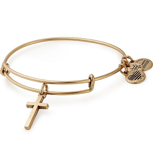 Cross Charm Bangle Gold