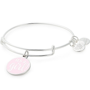 It's a Girl Charm Bangle Shiny Silver