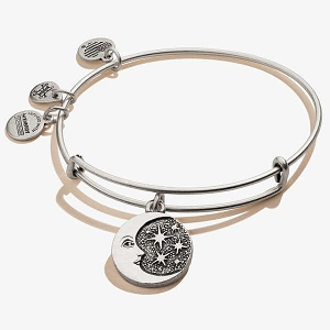 Moon Star Charm Bangle Silver