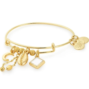 Puka Shell Cluster Charm Bangle Shiny Gold