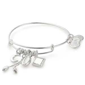 Puka Shell Cluster Charm Bangle Shiny Silver
