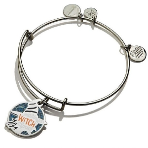 Resting Witch Face Charm Bangle Midnight Silver