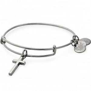 Cross Charm Bangle Midnight Silver