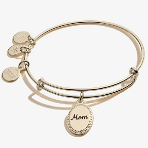 Because I Love You Mom Charm Bangle Shiny Gold