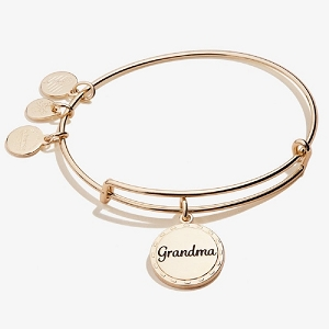 Because I Love You Grandma Charm Bangle Shiny Gold