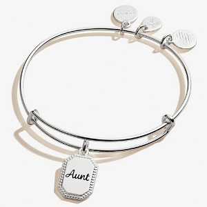 Because I Love You Aunt Charm Bangle Shiny Antique Silver