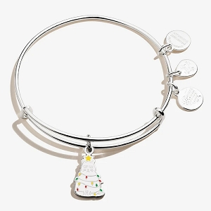 Holiday Cat Charm Bangle Color Infusion Shiny Silver