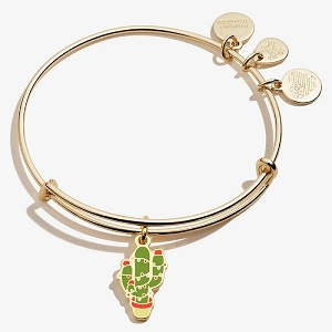 Holiday Cactus Charm Bangle Color Infusion Shiny Gold