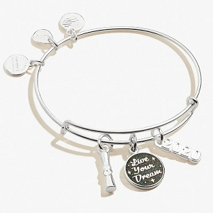 Class of 2020 Live Your Dream Trio Charm Bangle Shiny Silver
