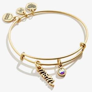 Mom Duo Charm Expandable Wire Bangle Gold