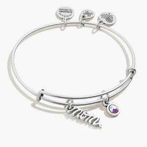 Mom Duo Charm Expandable Wire Bangle Silver