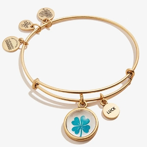 Four Leaf Clover and Luck Mantra Duo Charm Bangle Rafealian Gold