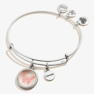Butterfly and Change Mantra Duo Charm Bangle Rafaelian Silver