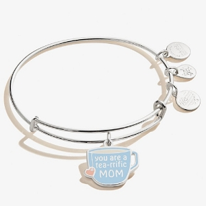 You're a Tea-rrific Mom Expandable Wire Bangle Shiny Silver