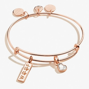 Woof Duo Charm Bangle Shiny Rose Gold
