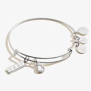 Woof Duo Charm Bangle Shiny Silver