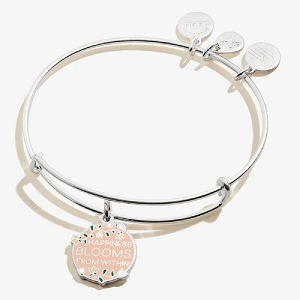 Happiness Blooms From Within Color Infusion Charm Bangle Shiny Silver
