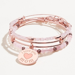 I Love you Mom Charm Bangle Set of 3 Shiny Rose Gold