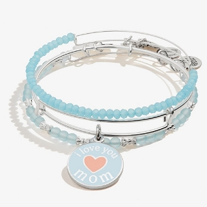 I Love you Mom Charm Bangle Set of 3 Shiny Shiny Silver