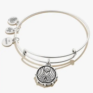 Guardian Angel Wings Charm Bangle Silver
