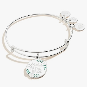 Mother of the Bride Charm Bangle Shiny Silver