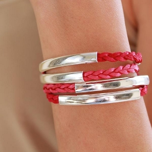 Mini Addison Braided Wrap in Silverplate Size Small Red