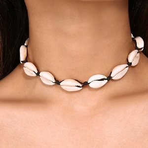 Puka Shell Choker Necklace All Around 16 inch Black